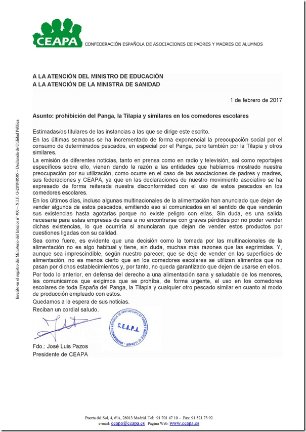 17-02-01 carta exigiendo prohibición de panga y tilapia